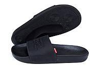 Мужские кожаные  летние шлепанцы Levis black (реплика), фото 1