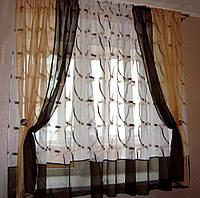 """Комплект штор для кухни готовый """"Татьяна"""" 3,35 м коричневый"""