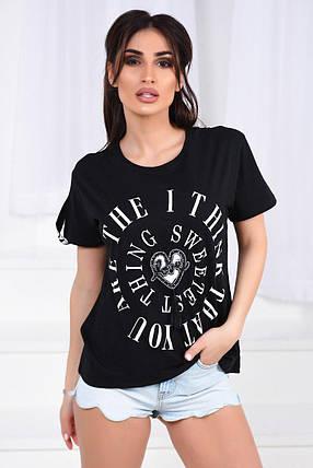 Черная футболка с надписями, фото 2
