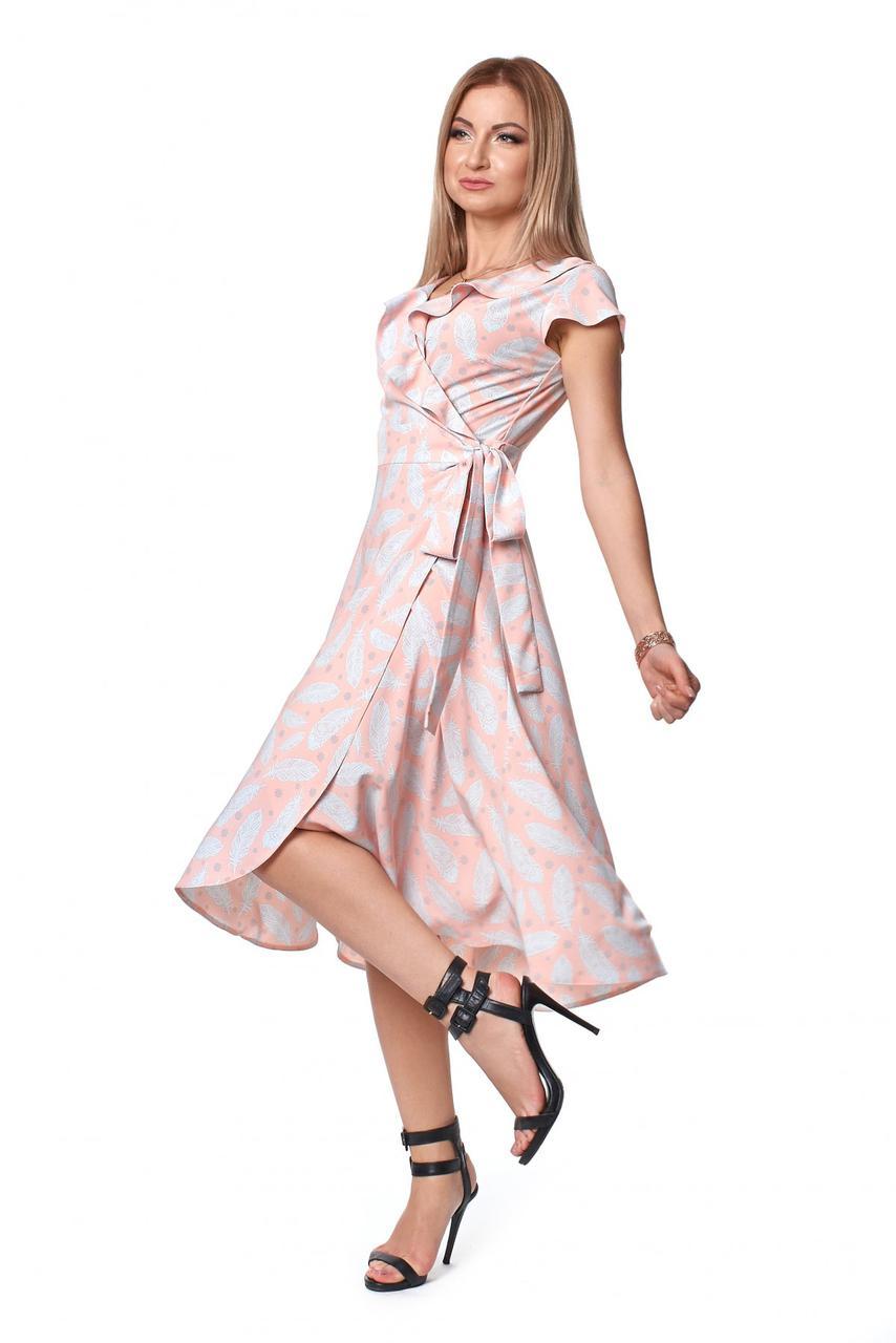 Платье № 1078 цвета пудровый перо