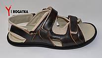 Мужские кожаные сандали великаны, цвет орех, с тряпичными вставками, на липучках
