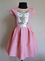 Детское летнее платье сарафан на девочку 4-9 лет с совой 1435, фото 1