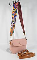 Клатч, сумочка на цветном ремешке Batty 620-1 нежно-розовая, фото 1
