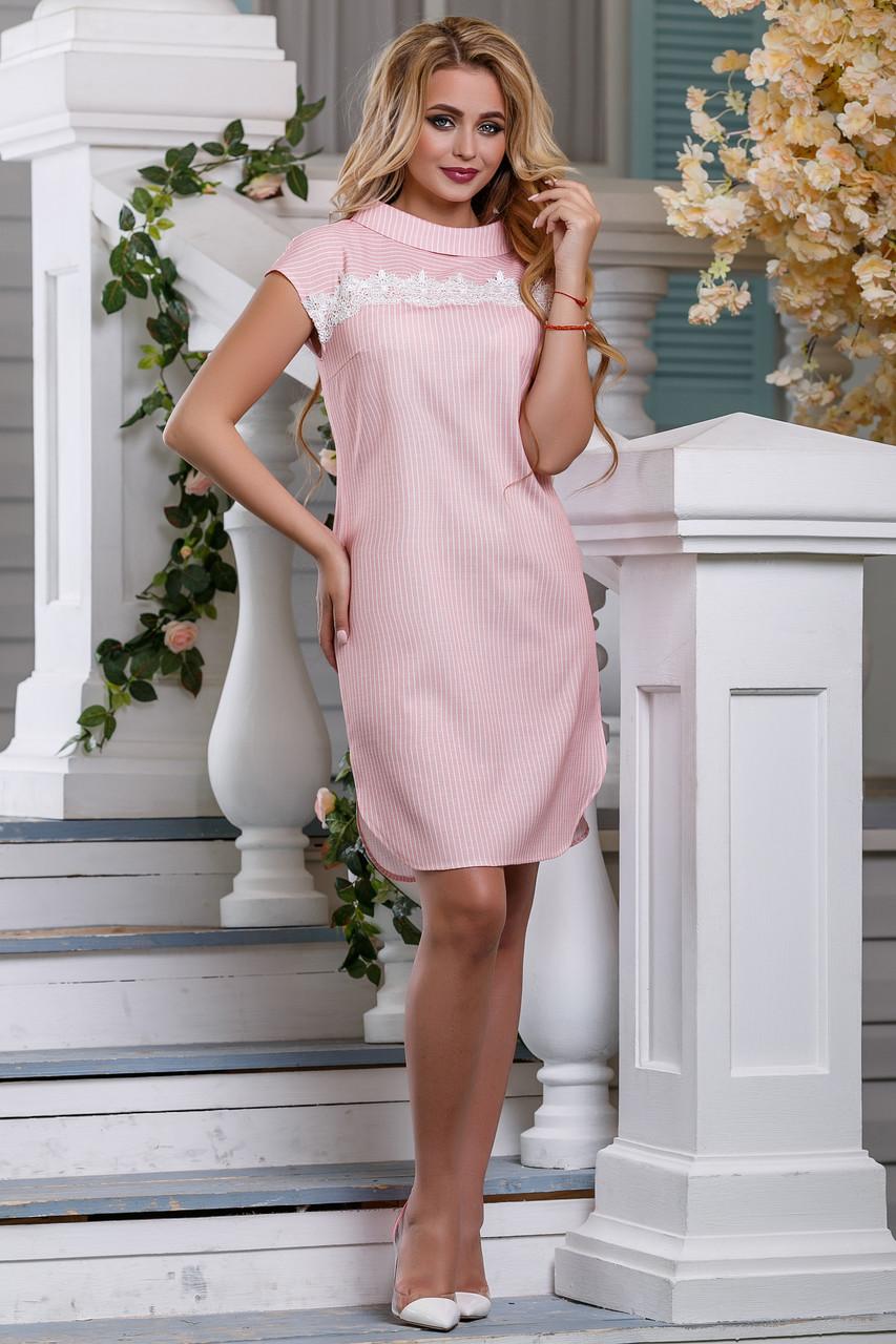 a6d4484106e Элегантное Прямое Платье на Лето с Кружевом Розовое М-2XL - купить ...