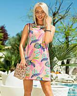 Женское летнее платье с принтом розового цвета. Модель 18295