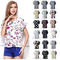 19 ЦВЕТОВ Шифоновая футболка с коротким рукавом Liva Girl больших размеров S-XXL