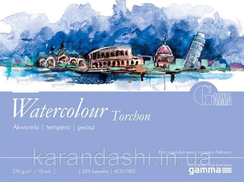 Склейка для акварели 30*40см 270г 10л 25% хлопка W2703040K10 GAMMA Watercolour Torchon Fabriano