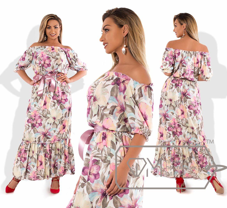 Длинное летнее платье батал