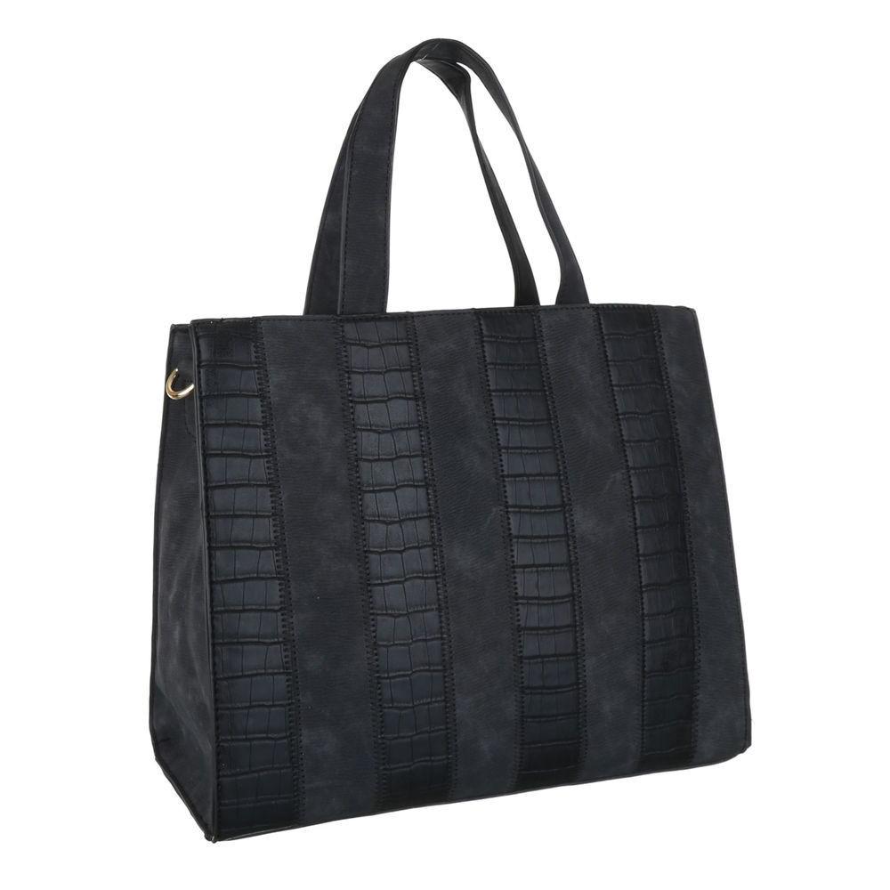 Большая сумка тоут, замша с экокожей под рептилию (Европа) Черный