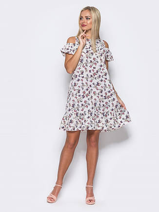 Миле плаття з відкритими плечима, воланом на грудях і по низу з метеликами білий розмір 44,46,48, фото 2