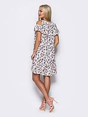 Миле плаття з відкритими плечима, воланом на грудях і по низу з метеликами білий розмір 44,46,48, фото 3