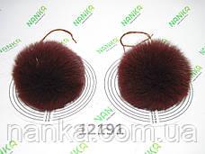 Меховой помпон Песец, Бордо, 11 см, пара 12191, фото 2