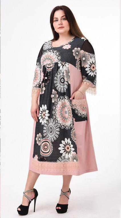 fad68afbafe Розовое льняное платье больших размеров Лукошко - DS Moda - женская одежда  оптом от производителя в