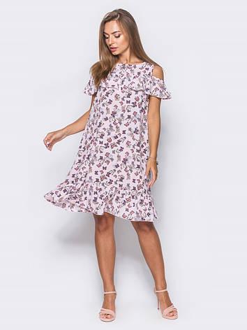 a9ef362eed8f06 Миле плаття з відкритими плечима, воланом на грудях і по низу з метеликами  білий розмір