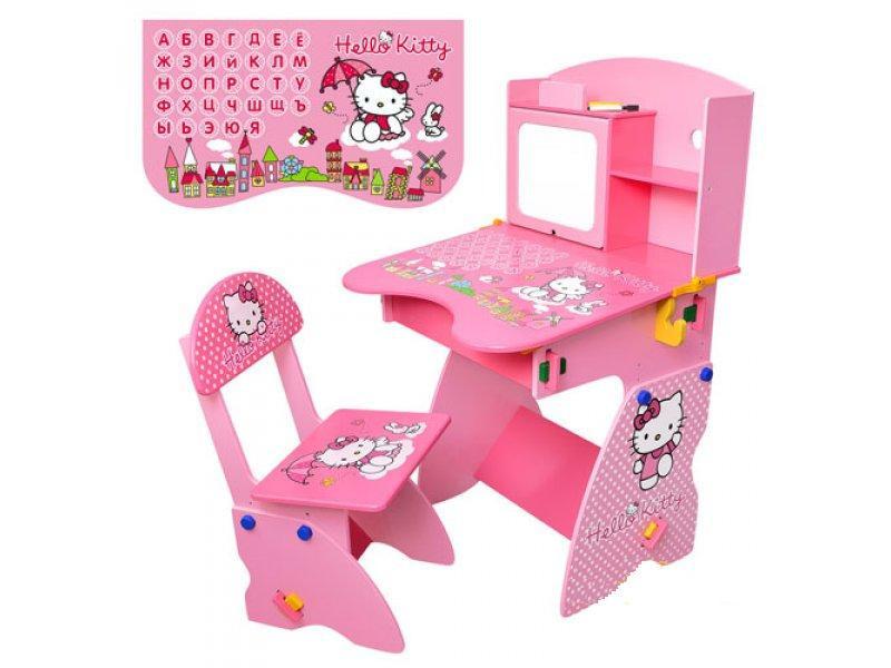 Детская парта со стулом M 0324 Hello Kitty с магнитной доской-мольбертом