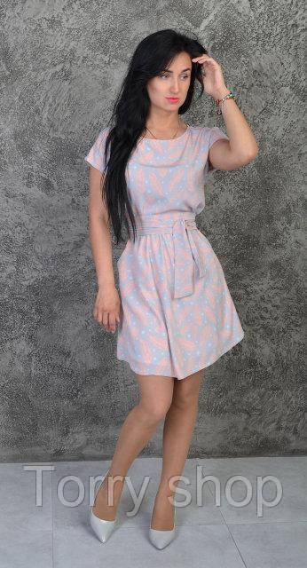 6bb96e46541 ... Летнее платье свободного кроя под пояс зеленого цвета с цветочным  узором