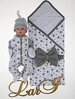 """Летний набор для новорожденных """"Звездопад"""" белый, фото 1"""