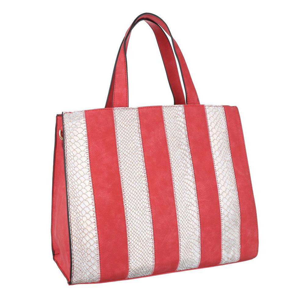 Женская ручная сумка из замши с экокожей под рептилию (Европа) Красный