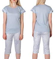 Пижама женская для дома футболка с бриджами хлопковая комплект домашний 713d9a6a32b47