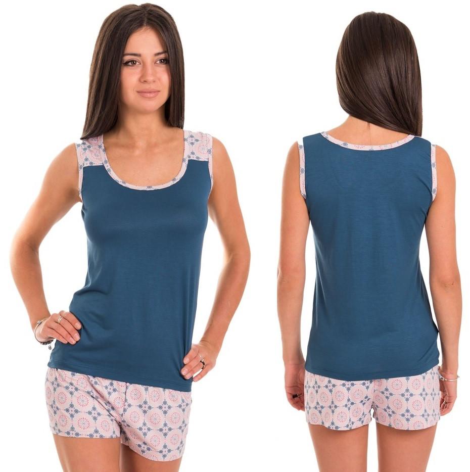 Пижама женская вискоза комплект домашний майка и шорты Украина