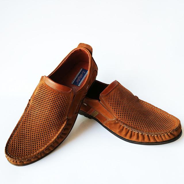 Летняя, мужская, кожаная львовская обувь L-style замшевые туфли мокасины, рыжего цвета, под ложку