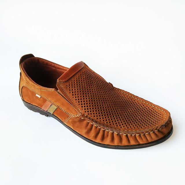 Летняя, мужская, кожаная львовская обувь L-style замшевые туфли мокасины, рыжего цвета, под ложку на каждый день