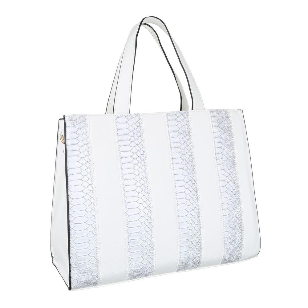 Женская сумка тоут, замша с экокожей под рептилию (Европа) Белый
