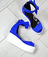 Босоножки из яркой синей замши , фото 1