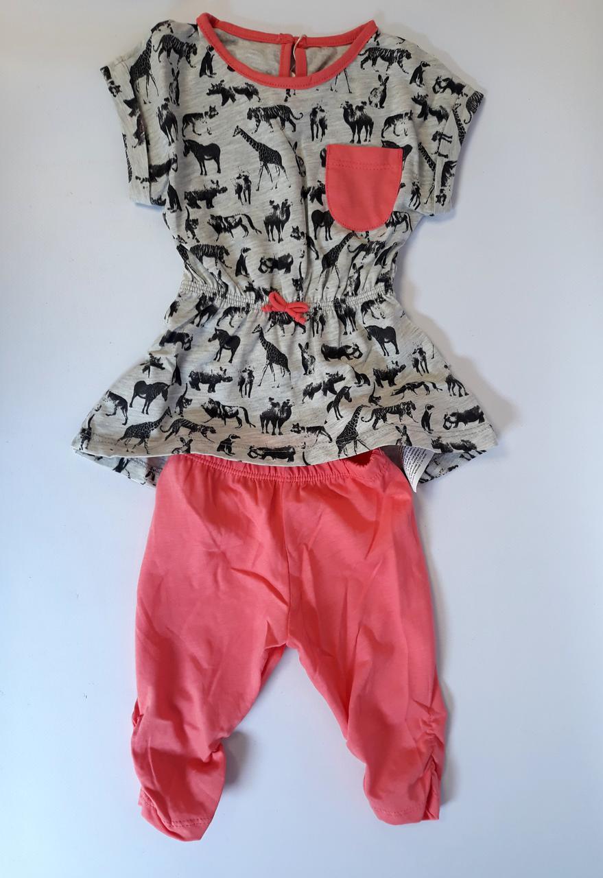 30f2eaa1b5723 Комплект для девочек Коралловый/серый/рисунок Супрем Бэмби Украина -  интернет-магазин