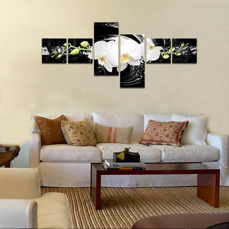 """Модульная картина для спальни """"Абстракция Орхидея"""""""