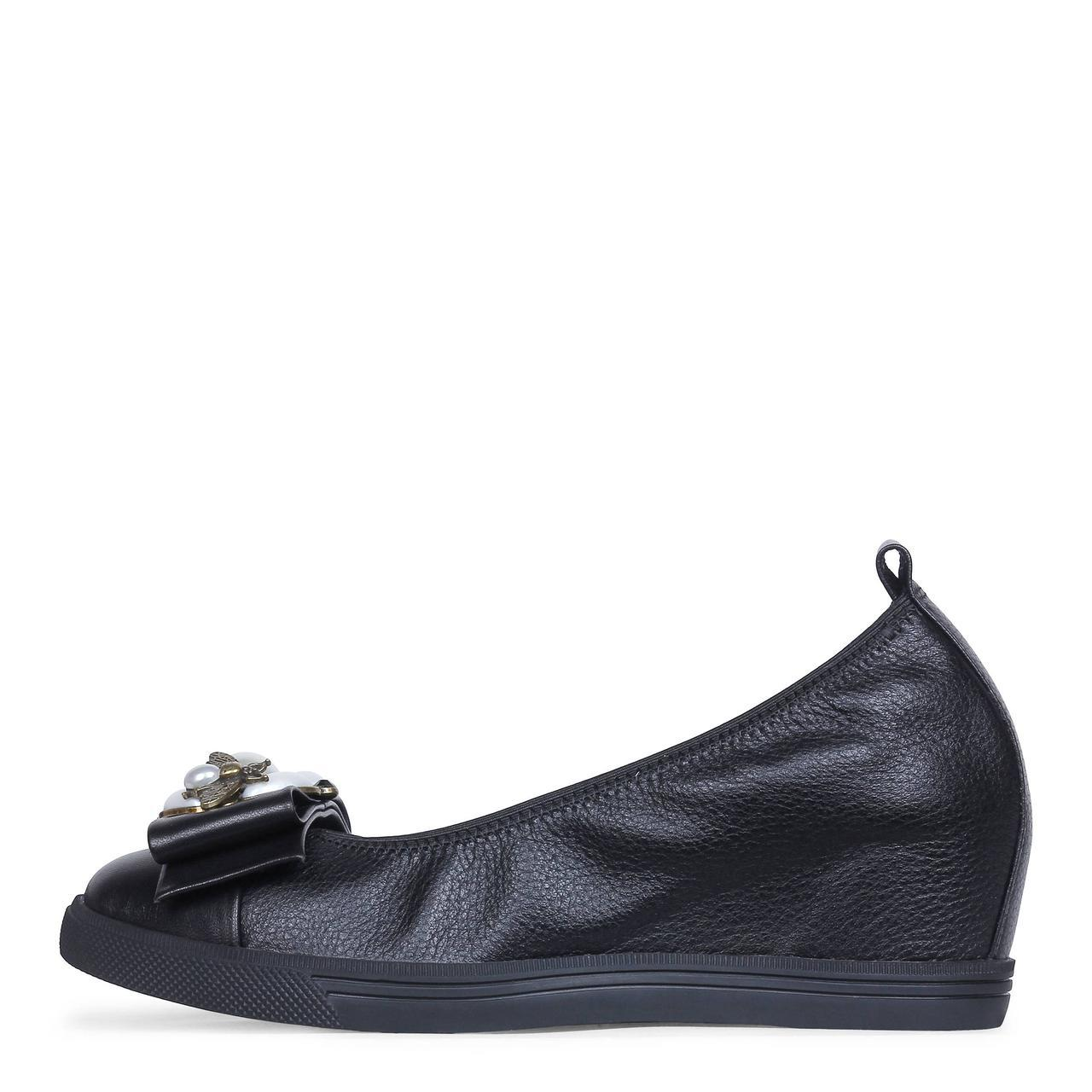 Черные женские кожаные туфли на танкетке  Like Show 19-A1656-18
