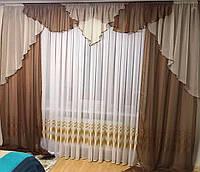 """Легкие шифоновые шторы с ламбрекеном """"№295"""", фото 1"""