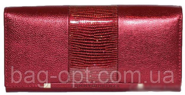 1977e8ac2ef2 Женский кошелек из натуральной кожи (18,5x10 см) металик бордо ...