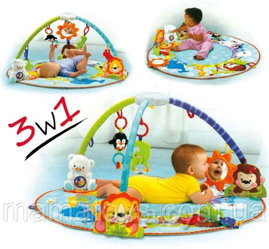 Развивающий коврик для младенца 7182 (63504) Умный малыш 3 в 1, 100 см