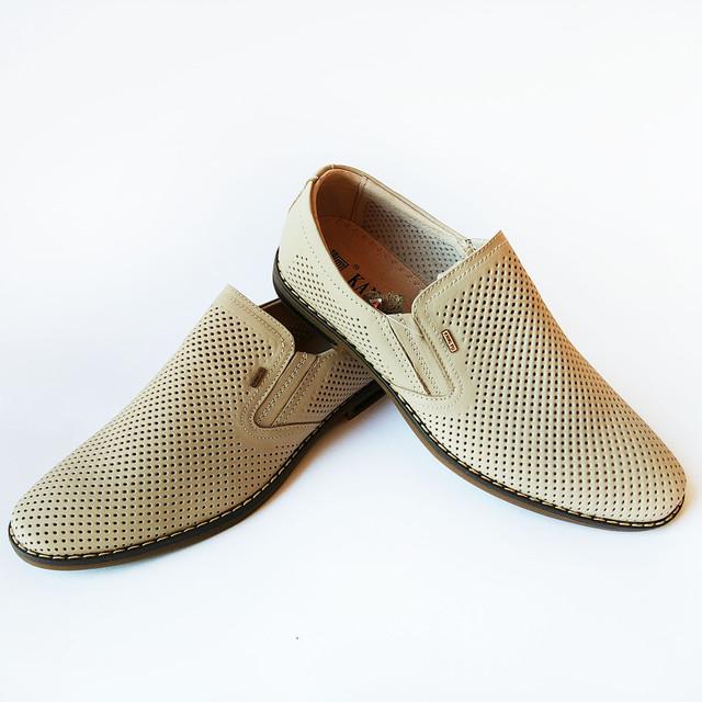 Дешевая кожаная мужская обувь на лето туфли бежевого цвета, под ложку, от производителя Китай