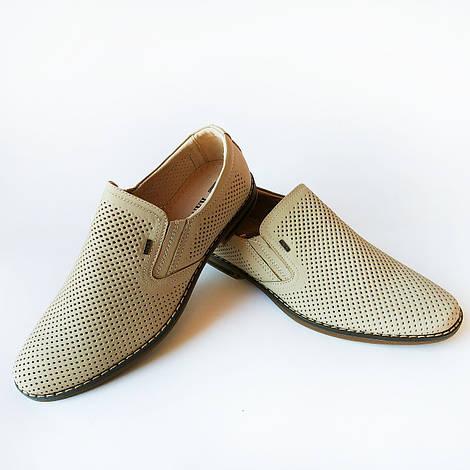 Дешевая мужская летняя обувь : кожаные туфли, бежевого цвета