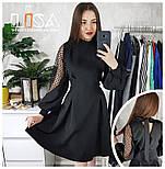 Женское эффектное платье со вставкой сетки в горох (4 цвета), фото 4