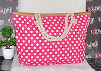 Летняя пляжная сумка розовая в горошек., фото 1