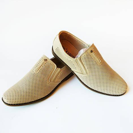 Кожаная мужская обувь лето : туфли бежевого цвета