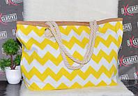 Пляжная желтая сумочка с канатными ручками с узором., фото 1