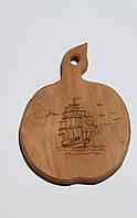 Доска сувенирная с выжиганием  корабля 20х27 см.