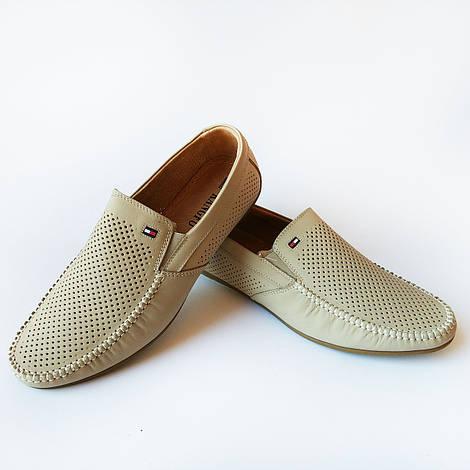 Кожаная мужская летняя обувь : мокасины бежевого цвета, под ложку