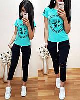 Стильный женский костюм, футболка и брюки 7/8 размеры от 40 до 52
