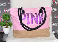 Женская тканевая пляжная сумка Pink., фото 1