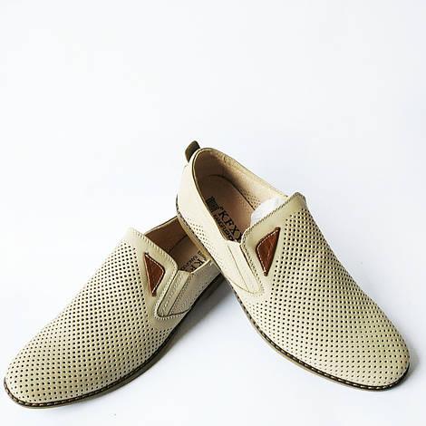 Летняя обувь для мужчин : кожаные туфли, бежевого цвета, недорого