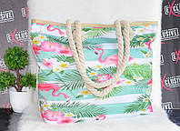 Женская тканевая пляжная сумка Фламинго, фото 1