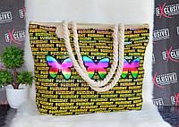 Пляжная сумка с канатными ручками с бабочками, фото 1