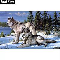 Алмазная вышивка 60*45 Волки на снегу, полная выкладка, квадратные алмазы