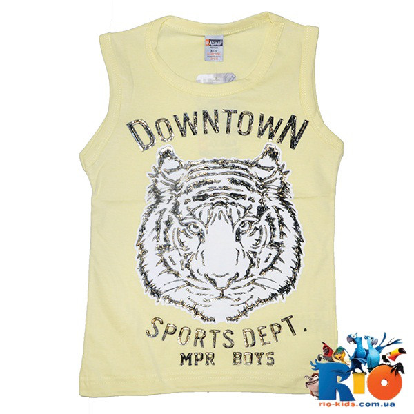 """Летняя детская майка  """"Downtown"""" , из трикотажа , для мальчиков рост 110-134 см ( 5 ед. в уп.)"""