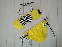 Однотонные купальники для девочек с бантом в полоску